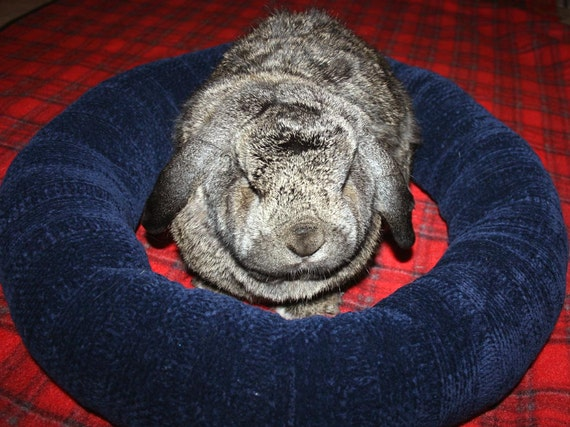 Ugli Donut bunny rabbit bed for a large to giant sized bunny chunky chenille in a rich dark blue wool free