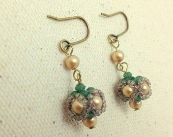 Handmade Green and Gold Swarovski Crystal and Pearl Woven Earrings