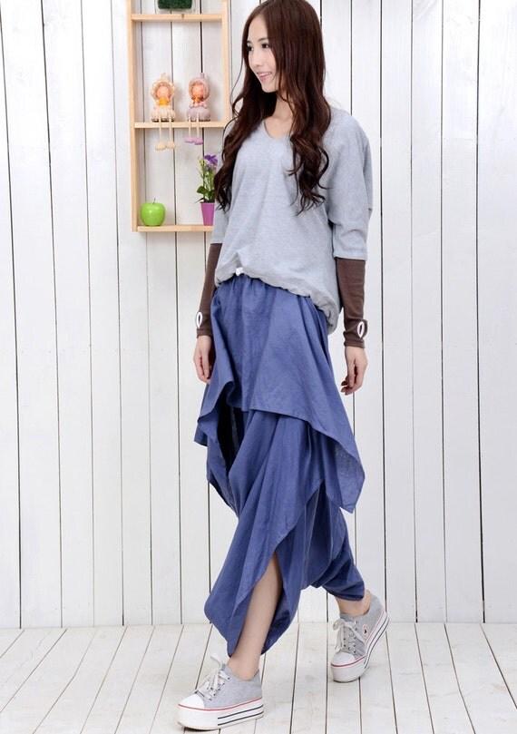 Harem Skirt Pants - Asymmetrical Casual Trendy Handmade Denim Blue Linen Skirt Pants Teenager Clothing (C404)
