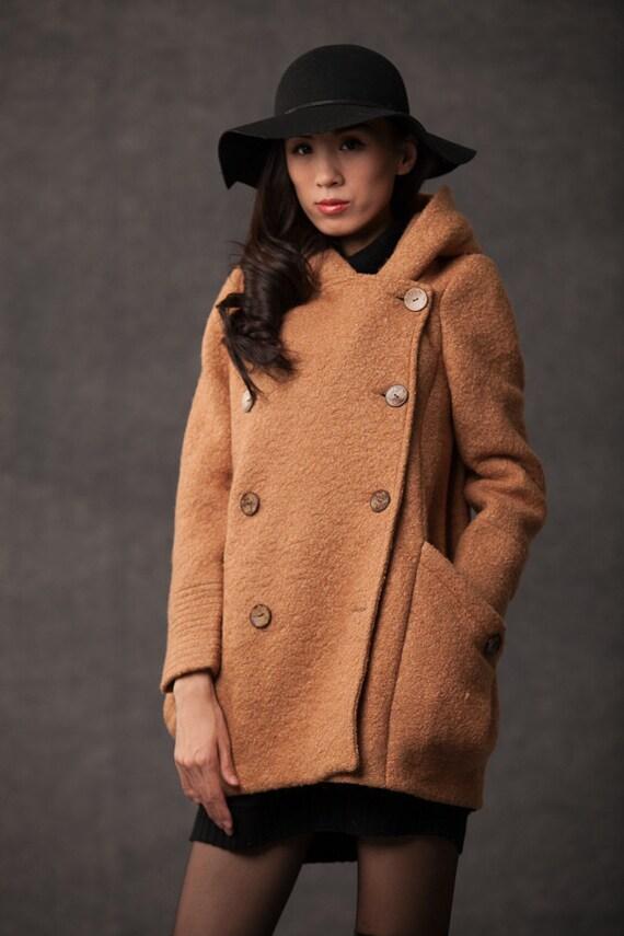 plus size coat winter coat pea coat hooded wool coat brown