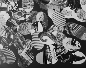 90 paperpunch ovals, black, white, grays - graphic design, bw, monochrome, gray paperpunches, furniture art collage pack in b/w, b&w