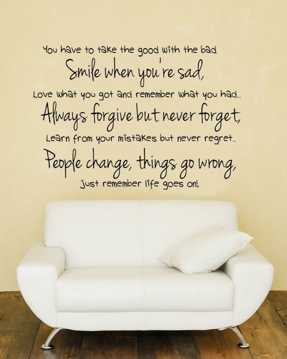 Wall Art Decals Motivational : Life goes on inspirational vinyl wall decal