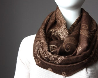 Paisley infinity scarf, chocolate brown scarf, women accessories
