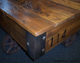 Factory Cart Coffee Table Reclaimed Wood - Cart Style Coffee Table - Industrial Loft Living caster table