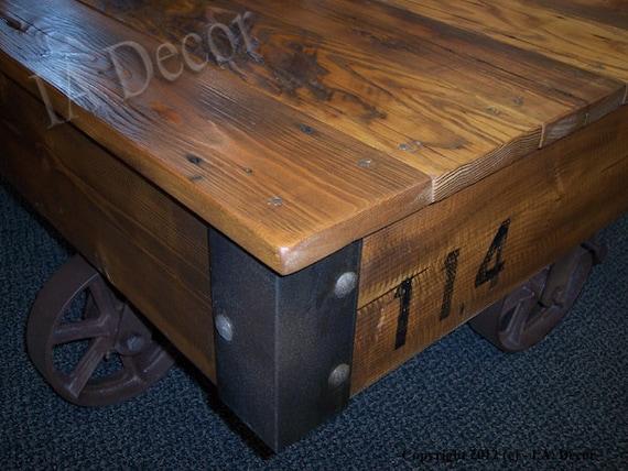 Factory Cart Coffee Table - Reclaimed Wood Cart Table 1/2 down Deposit Industrial