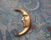 1  Large  Vintage Brass Man in the Moon Stamping