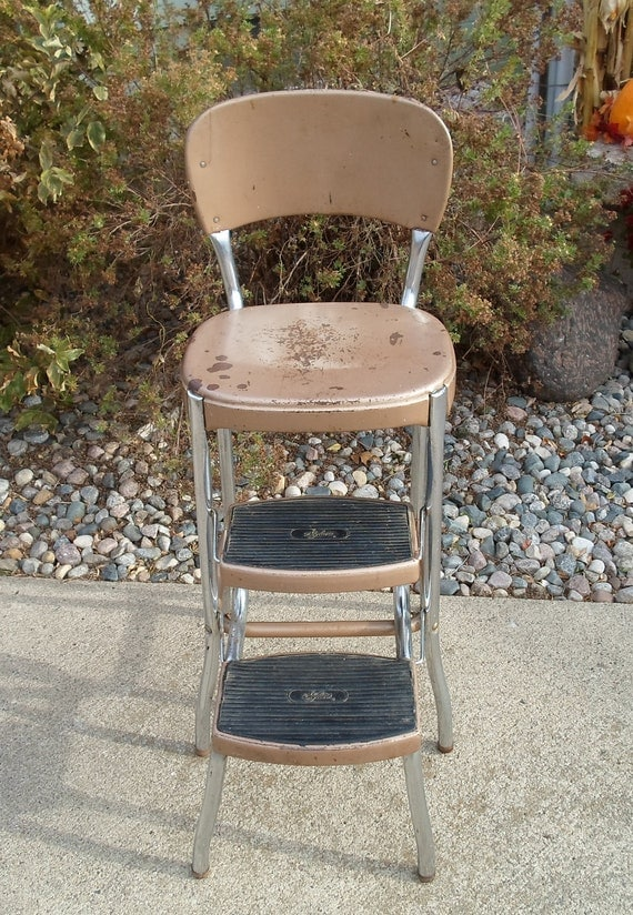 Vintage Stylaire Cosco Like Chair With Step Stool Stainless