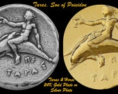 TARAS: Son of  POSEIDON, Horse and Dolphins,  24K Gold  or Silver Plated Coin, Great Unique Gift