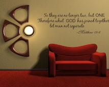 So They Are No Longer Two Vinyl Word Quote Wall Decal God Scripture Matthew Marriage (v0161)