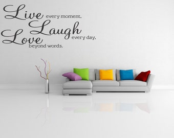 Live - Laugh - Love Removable Wall Quote Decal Sticker Wall Art Decor Wall Lettering (77)