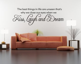Best Things In Life Are Unseen Vinyl Decal Quotes Wall Sticker Wall Art Wall Decals Wall Quote (v24)