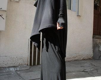 Spring Black Coat / Cotton Coat / Extravagant Asymmetrical Blazer / Extra long sleeves A07098