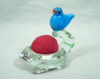 Pin Cushion Bird Blue Blown Glass Vintage