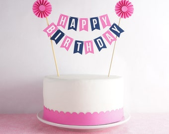Cake Bunting Topper, Pink & Navy Happy Birthday