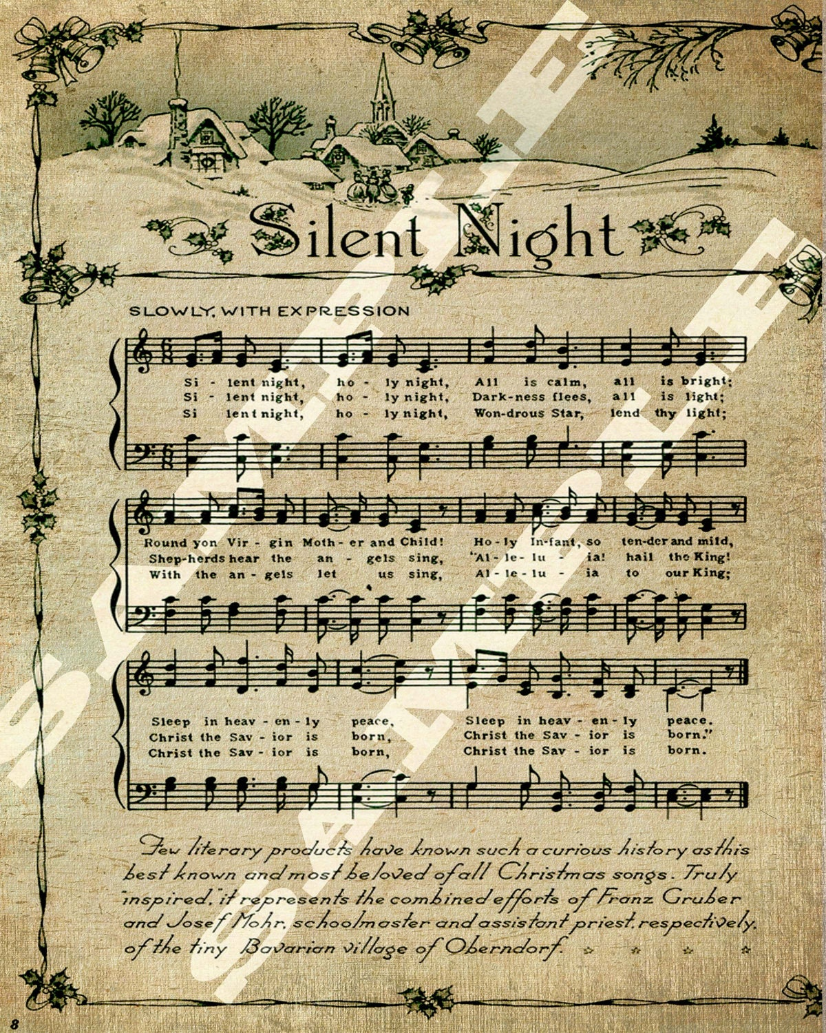 Christmas Holiday Religious Silent Night Sheet Holiday Music