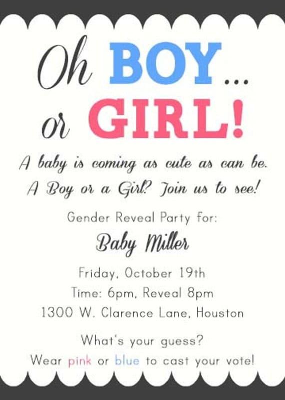 PRINTABLE Boy or Girl Pink or Blue Gender Reveal by ...