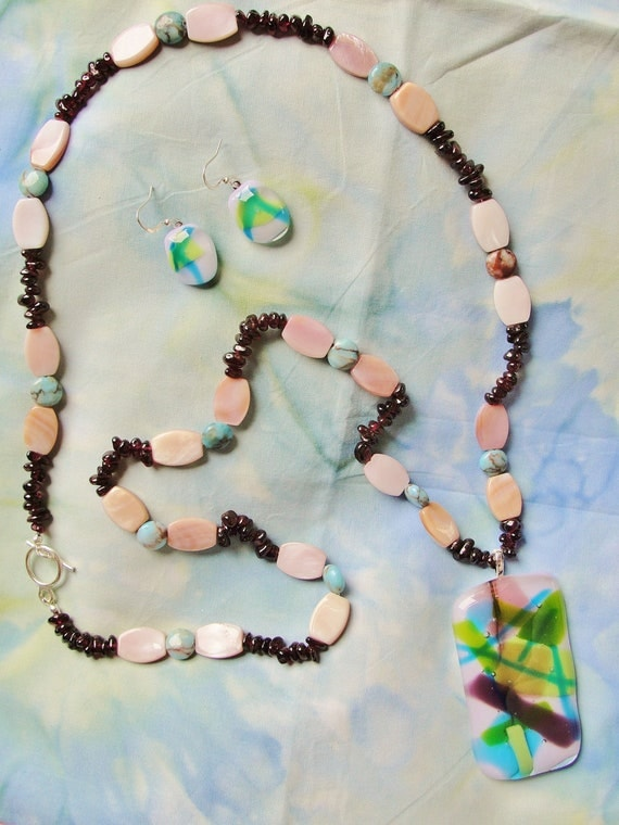 Hand Made Fused Glass Pendant Necklace & Earrings Set, pierced, glass, pink, purple, blue, green, shells, amethyst, magnesite