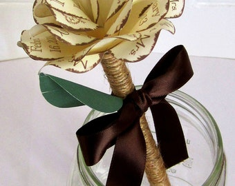 Rustic Wedding Pen Personalized Paper Rose Twine Wrapped  Pen Cream and Brown