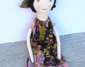Margaret: Rag Doll - Handcrafted 22 Inch Cloth Doll - Vintage & Recycled Textiles - Green Eyes and Black Cashmere Hair