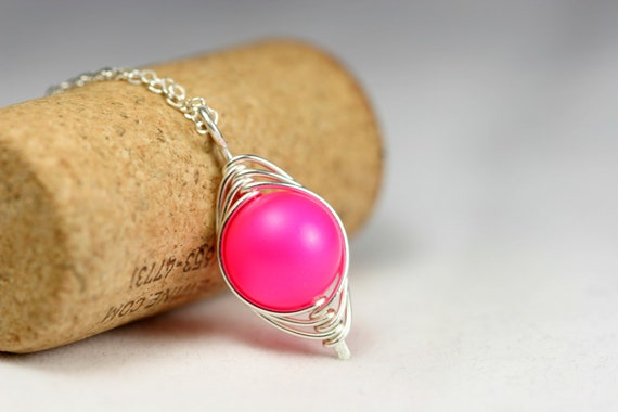 Neon Pink Necklace Wire Wrapped Jewelry Handmade Sterling Silver Jewelry Handmade Swarovski Pearl Necklace Hot Pink Necklace