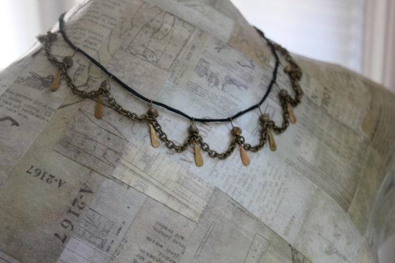 "Metal Choker Necklace Chain Modern Rustic Jewelry Antique Brass Bronze Black Silk Satin Cord Flat Charms Rough Citrine Stone Gemstone 17"""