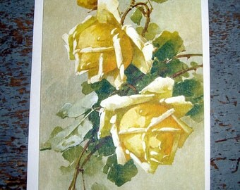 Vintage Card, Get Well, Yellow,  Roses, Hallmark, Floral Card, Unused