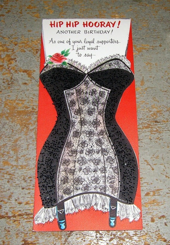 vintage card birthday hallmark sexy black girdle, Birthday card