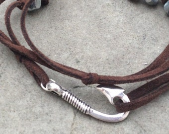 Men's Brown Leather Wrap Bracelet with Silver Fish Hook