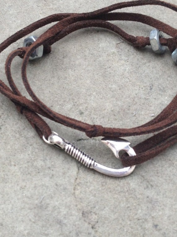 Men 39 s brown leather wrap bracelet with silver fish hook for Mens fishing bracelet