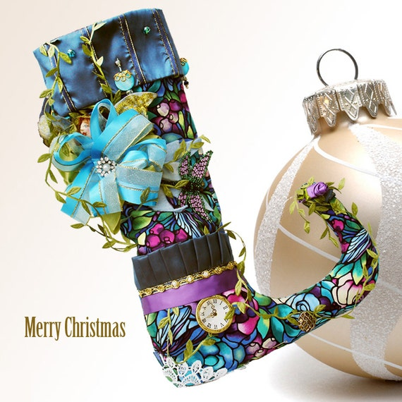 RESERVED FOR WENDY. Christmas stocking blue woodland style with fairy doll