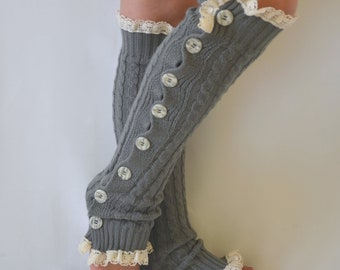 Leg Warmers-Gray cable knit slouchy button lace knit lace leg warmers-Boot socks-Over the knee socks-Knee high socks-Boot cuffs-XS-S-M-L-XL