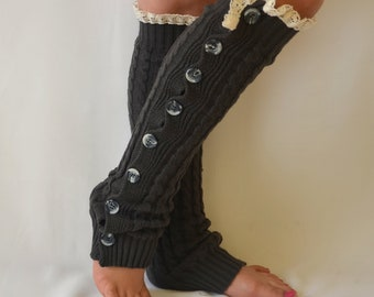BS5374- Dark grey cable knit lace leg warmers knit lace leg warmers boot socks boot cuffs birthday day gifts christmas gifts