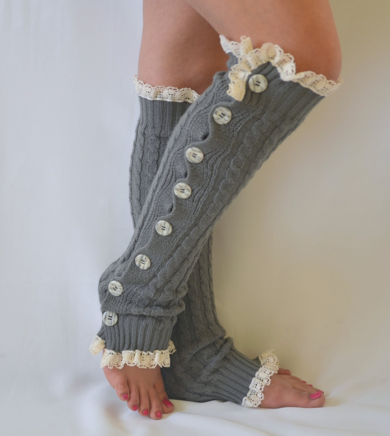 Knitting Pattern For Rain Boot Socks : Leg Warmers-Gray cable knit slouchy button lace knit lace leg