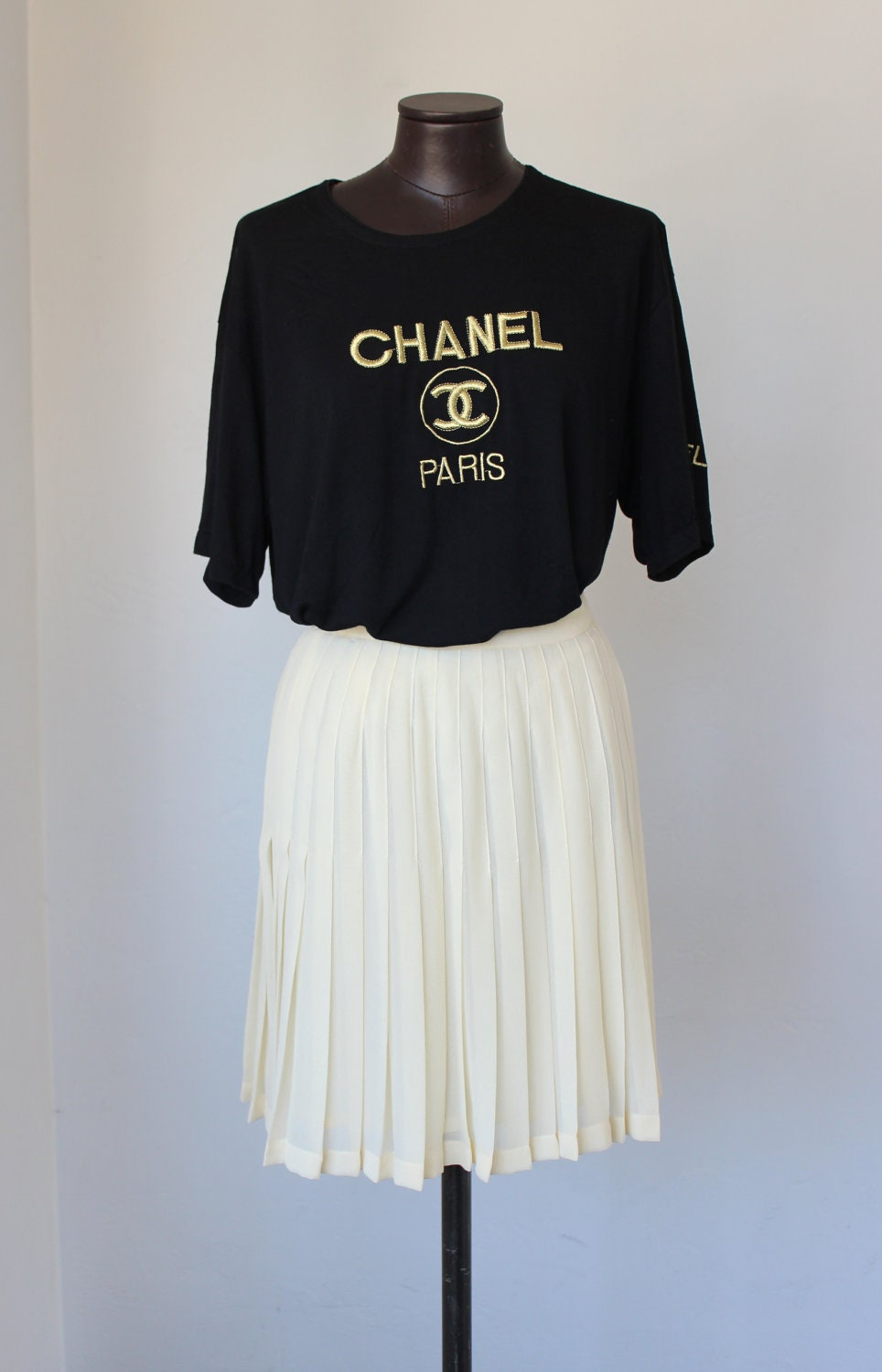 Vintage Chanel T Shirt Black W Gold Metallic Embroidered