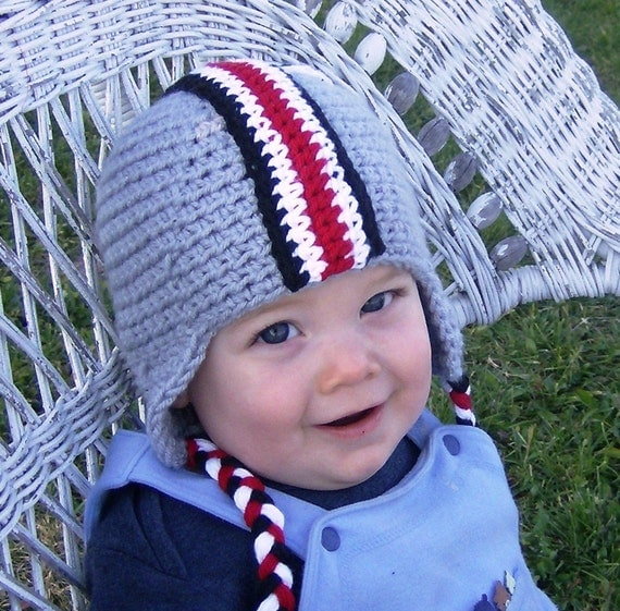 Free Crochet Pattern For Helmet Hat : Crochet Pattern OSU Colors Football Earflap Helmet with Decals