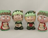 Holiday Decor, Hand Painted Bobble Heads, Christmas Decoration, Each Sold Separately