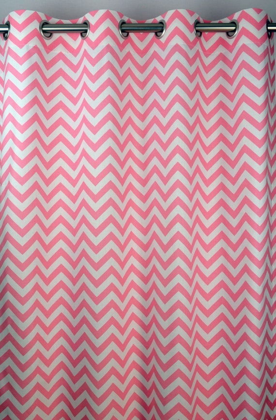 Red and white chevron curtains