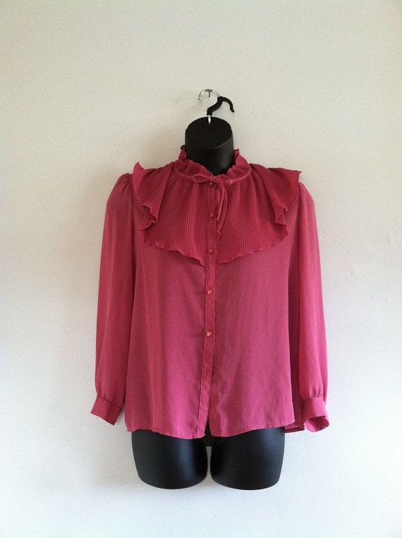 Plus Size Vintage Mauve Pleated Ruffle Blouse