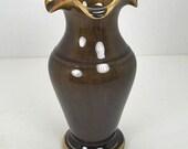Vintage Thai Celadon Dark Green Vase Pottery with Scalloped Edge
