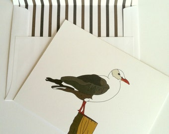 Coastal Note Card Seagull Note Card with striped lined envelope Beachy Stationery Sea Gull Greeting card Ocean Bird Card