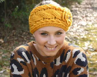 Crocheted Cable Twist Headband/Earwarmer - Mustard