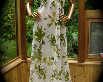 White Silk Lingerie Gown in Silk Natural White Stretch Charmeuse and Floral Silk Chiffon