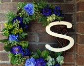 "Personalized Mixed Blues 16"" Floral Monogram Initial Wreath"