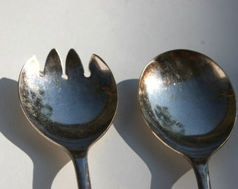 Salad Serving Spoon Fork Sterling Silver Plated Made in England Beautiful Tarnished Patina