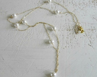Long Pearl Necklace - Delicate White Shell Pearl and Chain Necklace Spring Trends Gifts for Her Handmade Jewelry