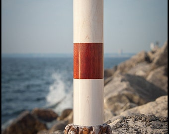 Lighthouse Spice Mill Harbor Beacon in Bloodwood & Whitewashed Hard Maple on Hand-Carved Rock Pile in American Cherry