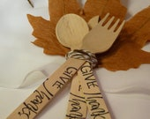 THANKSGIVING  -4 cutlery SETS PapER LeaVeS - TwiNe and Hand Stamped  Wood Spoons- Forks and KniVes Dinner is SeRvED , Reunion ,  Family