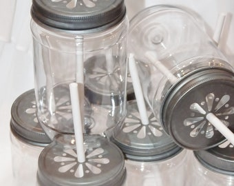 PLASTIC Mason JARs 15 and Pewter Daisy LiDS  Free Color Labels...15 Trendy  Vintage Inspired ...Insert Straw in CenteR Now UNbreakabLe