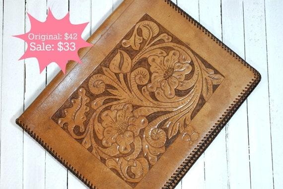 SALE 20% OFF - Tooled Leather Portfolio Folder - Light Tan Leather with Dark Brown Binding, Flower Design, 8.5 x 11 Paper