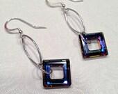 Square Earrings Swarovski Crystal Earrings Beaded Jewelry Long Silver Dangle Earring